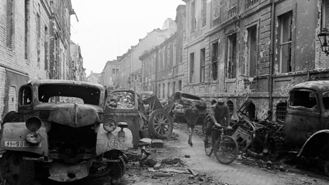 Not published in LIFE. Oberwallstrasse, in central Berlin, saw some of the most vicious fighting between German and Soviet troops in the spring of 1945