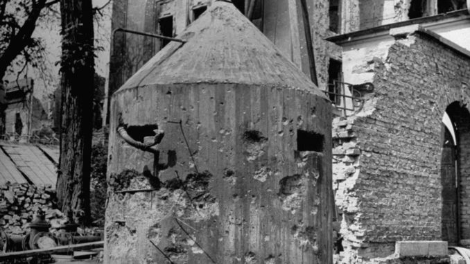 Not published in LIFE. Bullet-riddled sentry pillbox outside Hitler's bunker, Berlin, 1945.